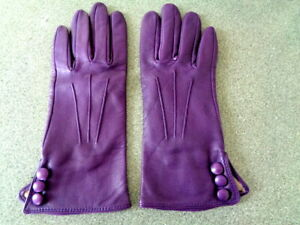 New Dents Purple Luxury Leather Gloves with Silk Lining Size 7