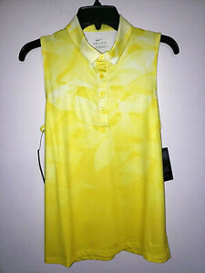Womens Nike Dri-Fit Yellow Sleevless Golf Polo Shirt New NWT Size Small S