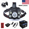 Zoomable 80000LM 5x XM-L T6 LED Rechargeable 18650 USB Headlamp Head Light Sets