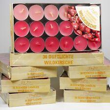 8x36 farbige Duftteelichter Duft Kerzen Wildkirsche rosa/pink by Gies, Sparpaket