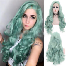 Fashion Green Long Wavy Wigs Heat Resistant Lace Front Full Head Cosplay Wigs