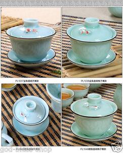 carp / golden fish relief Chinese porcelain tea bowl tea service cup bowl saucer