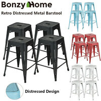 Set of 4 Metal Distressed Bar Stools 24 In Counter Height Stackable Dining Stool