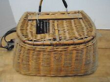 Vintage Creel Fishing Leather Wicker Basket Canvas Strap Westcot Ruler Trout