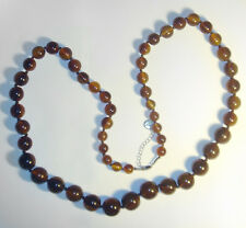 "GORGEOUS Large 44"" BROWN Marblized LUCITE BEAD FURLA Designer NECKLACE"