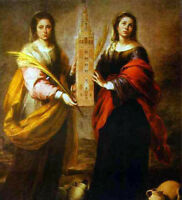 Nice Oil painting Bartolome Esteban Murillo - St. Justa and St. Rufina canvas