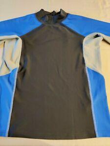 L.L. Bean Boys Size M (10-12) Blue 3/4 Sleeve Swim Shirt / Rash Guard