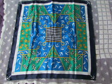 Scarf New Nautical Abstract Retro Vintage Navy  Blue Yellow Anchor