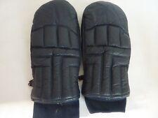 Vintage Ladies SKI MITTENS  Navy Blue Soft Leather Lined  Rib Cuff