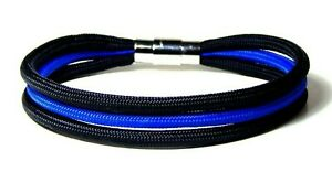 Thin Blue Line 3 Strand  Bracelet Locking Stainless Clasp Police USA  7 Inch