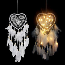 Dream Catcher WITH LED Heart Feathers Handmade Night Light Wall Hanging Decor