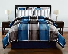 Queen Size Blue and Brown Comforter and Sheet Set Bed in a Bag Bedding