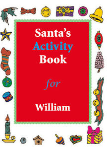 Personalised Christmas Activity Book - 20 pages with 11 colour swop crayon