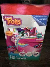 Trolls ~ 4 Piece Sheet Set Full Flat Fitted Pillow Cases Dreamworks New