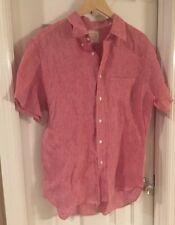 (A39) Billy Reid Red Linen Short Sleeve Shirt Large