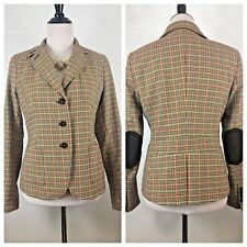 Talbots Wool Blazer Jacket Size 6 Brown Plaid Elbow Patches Preppy Career