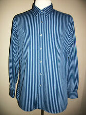 Van Heusen 17 34/35 Button Down Shirt Navy Royal Blue & White Stripe Long Sleeve