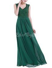 Women Ladies Sleeveless Floral Lace V Neck Chiffon Bridesmaid Dress Long Evening