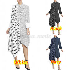 UK Womens Spliced Shirt Dress Asymmetric Long Sleeve Polka Dot Tie Dress Ladies