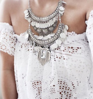 Silver Multi Layered Boho Coin & Leaf Statement Necklace