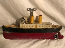 Ives Chicago Wind Up Tin Clockwork Boat Antique Tin Toy Ship