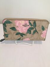 NWT Authentic COACH Signature  Blush Floral Zip Around Accordion Wallet  F26290