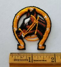 Vintage HORSE HEAD HORSE SHOE Small Patch 70s From USA