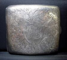 Sterling Silver Cigarette Case ✪ England Early 1900's ✪ 925 Monogram ◢Trusted◣