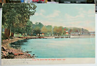 1908 CULVER INDIANA Postcard Of Along Lake Shore Near RR DEPOT Shows Steamboat