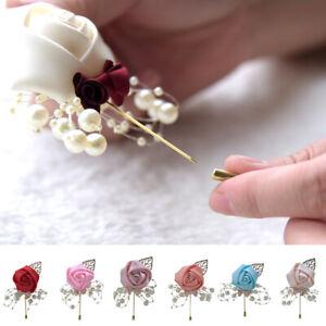 Bridal Groom Bride Boutonniere Corsage Artificial Flower Brooch Party Decor