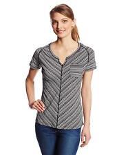 ExOfficio Women's Goto Pocket Stripe Short Sleeve, Black/White, Medium