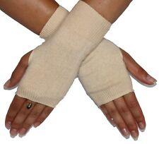 "Silk Cashmere knit Fingerless Fashion warm Gloves cream 8"" long OneSize Unisex"