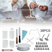 38Pcs Cake Decorating Turntable Set Tool Spatula Rotating Stand Nozzles Kit