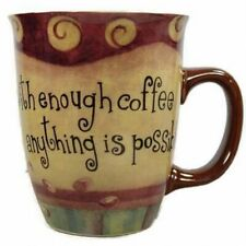 CARSON HOMES With Enough Coffee Anything is Possible Coffee Mug Cup 14oz Ceramic