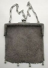 Vintage Retro Solid Continental Silver Ladies Chain Mail Small Purse Evening Bag