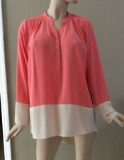 7f6a9bd463caf8 Gianni Bini Coral and Cream Colorblock Half Button Up Blouse Size L