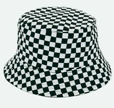 Black Checked SUMMER OUT DOOR SHOWERPROOF UNISEX BUCKET RAIN HAT Reversible UK