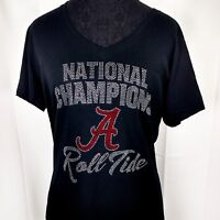 Women's National Champions Alabama Crimson Tide Rhinestone Championship  T-Shirt
