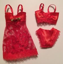 Barbie Doll Clothes Lingerie RED LACE CAMISOLE / TEDDY BRA PANTY SET Underwear