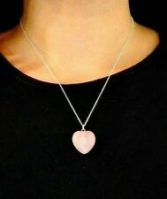 "Rose Quartz Heart Pendant Crystal Gemstone Spiritual 18"" Chain Necklace Boxed"