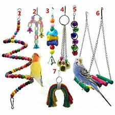 Gizhome Parrot Toys For Birds, 7 Packs Swing Chewing Hanging Perches With Bells