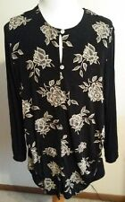 Cimmaron Dress Size 2X Black & Tan Floral Pattern Blouse Tie In Back Stretchy