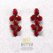 Boucles d`Oreilles CLIP ON Doré Resine Facetté Rouge Feuille Retro Mariage YW6