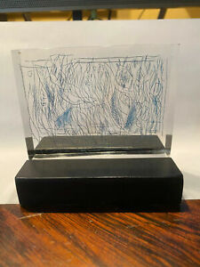 Charles Seliger Original Abstract Sculpture - Etched Lucite Block 1980
