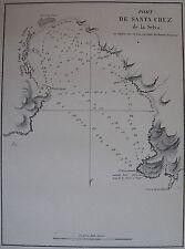 PORT DE SANTA CRUZ ,1862, GAUTTIER, PLANS PORTS RADES MER MEDITERRANEE