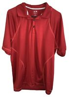 Adidas Climacool Polo Shirt Short Sleeve Golf Top Collared Red Men's Size Medium
