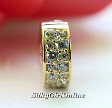 Authentic Pandora 14k Gold Shining Elegance Clear CZ Clip 750842CZ