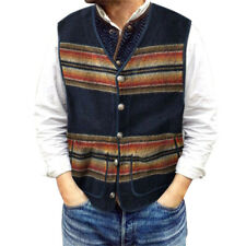 Mens Striped Waistcoat Casual Pockets Buttons Vest Coat Winter Outwear Tops US
