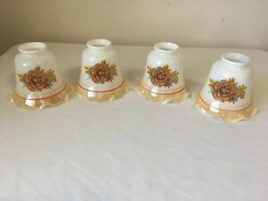 4 RUFFLED BROWN FLORAL ROSE FLOWER GLASS TULIP LAMP SHADE SCONCES CEILING FAN