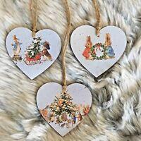 Peter Rabbit Christmas Handmade Wooden Hanging Hearts tree Decorations set of 3